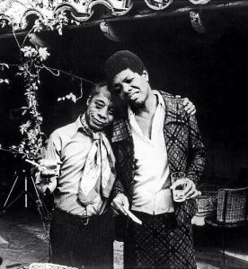 "At a party with James Baldwin, who challenged her to write ""I Know Why The Caged Bird Sings""."